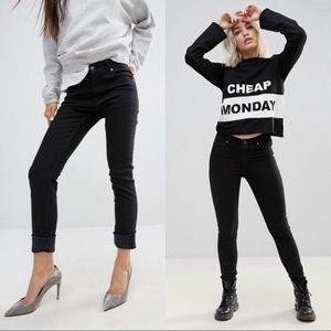 ASOS NWT Cheap Monday Tall Black Skinny Jeans